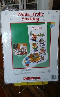 "Rare Dimensions 8404 cross stitch kit Christmas 16"" stocking Winter Frolic NEW"