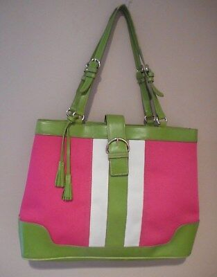 Liz Claiborne Large Pink Green   White Tote Shopper Purse Bag Beach Islands  ... 57ad87aac8d10