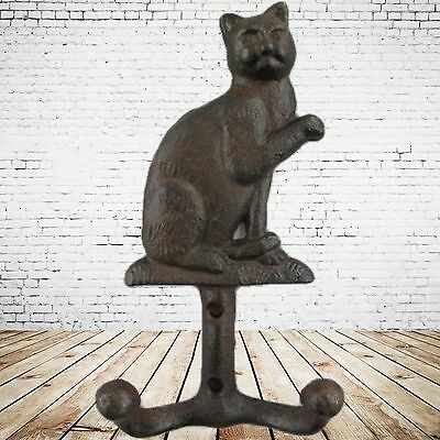 Wardrobes 2 Cats Wall Hook Hanging Storage Cast Iron Brown Vintage Aesthetics