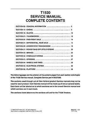 NEW HOLLAND T1530 Tractor Service Manual on