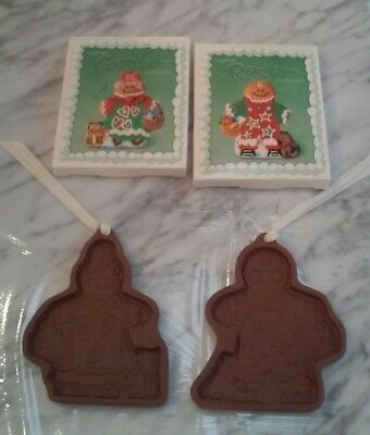 Lot of 2, Longaberger Pottery Cookie Molds 2000 Roger & Ginger