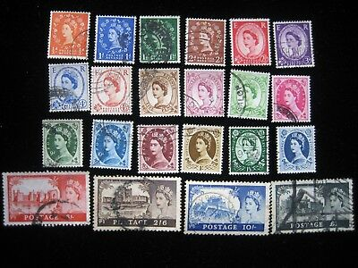 Great Britain  - 22 early Queen Elizabeth II stamps - used