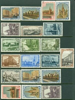 EDW1949SELL : RUSSIA 1947 Scott #1132-46. 2 Very Fine, Used Cplt sets. Cat $87.