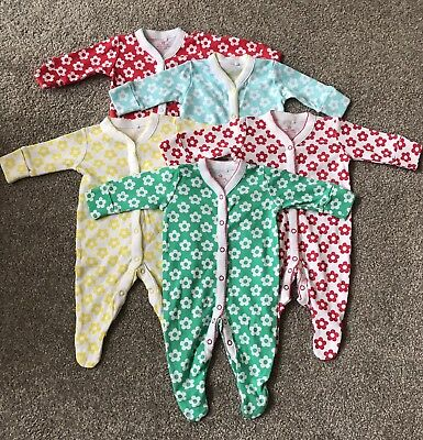 Next Up To 1 Month Girls Babygrows X5