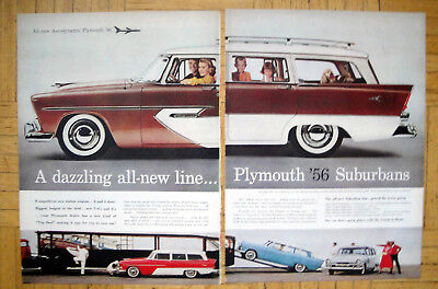 1956 Plymouth Sports Suburban Station Wagon-Original 2 Page 13.5*10.5 MagazineAd
