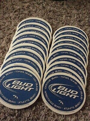 "BUD LIGHT BEER Oval COASTERS You Receive  ""20"" Coasters"