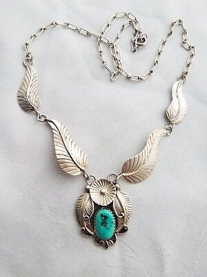Vintage Navajo Sterling Silver Turquoise Squash Blossom & Feathers Necklace JM