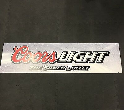 """Coors Light The  Silver Bullet Sign  51""""x 13 3/4"""" Plastic Beer Sign/banner"""