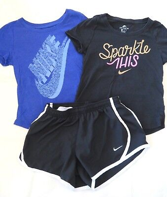 Lot Girl's NIKE Athletic T Shirts Tops Shorts Size Small 8-9 Black, Blue