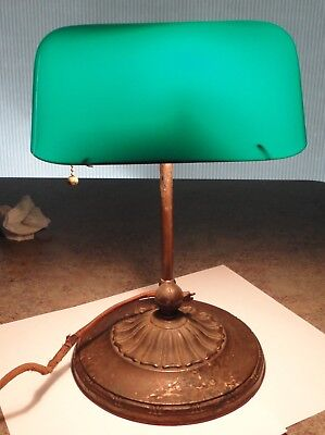 Working Antique 1916 Emeralite Desk Lamp Double Knuckle 8734