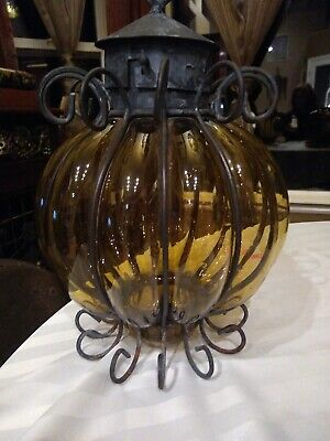 Antique /vintage Cage Blown bubble Glass Amber swag Light Lamp shade Murano?