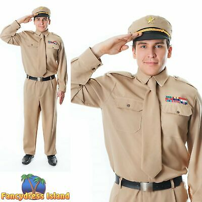 1940S WARTIME WAR WW2 ARMY GENERAL - One Size - mens fancy dress costume