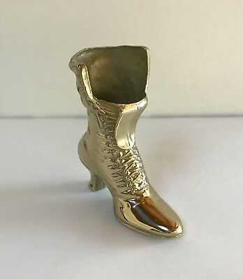 "Brass Victorian Boot Sculpture Women's Boot fashion Paperweight Doorstop 6"" High"
