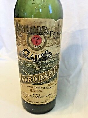 RARE 1935 Alchaia Patras Greece Mavrodaphne Empty Wine bottle