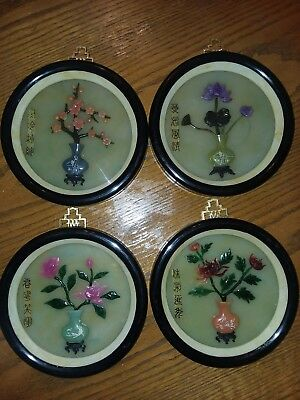 SET OF 4 BEAUTIFULAsian Season Shadow Box Pictures Made With Natural Stone.