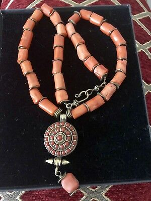 Tibetan Gau box brass Hirz and old coral pendant handmade necklace.