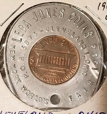 1964 Cleveland Ohio New York Worlds Fair Encased Cent Token
