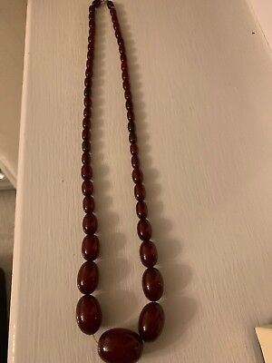 Vintage Art Deco Cherry Amber Bakelite Graduated Bead Necklace 75cm 59g