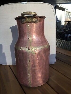 "Vintage antique 16"" tall copper and brass pot milk jug"