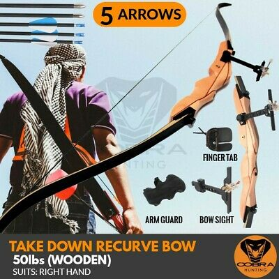 50lbs Takedown Recurve Bow wooden 5 Arrows Archery Hunting Target Shooting RH