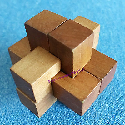 """3D Mini wooden Puzzle brain twister teaser """"Six way Kongming lock""""clever contest"""
