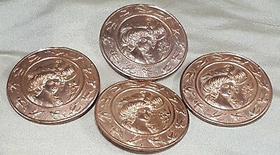 ANTIQUE BUTTONS Metal LADY w/HAT, BLUE BIRD 4 Art Nouveau Copper/Rose Gold Color