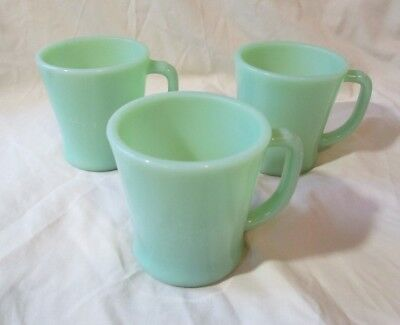 Vintage Jadeite D Handle Coffee Mugs Fire King Oven Ware Green lot of 3