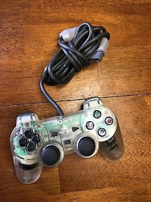Rare Sony PlayStation 1 PS1 Dual Shock Analog Controller Clear SCPH-1200 Tested