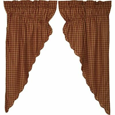 Burgundy Check Prairie Curtain
