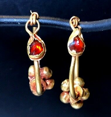 Ancient Roman-Byzantine Pair Of Gold Earrings With Red Garnet And Sphere Beads!