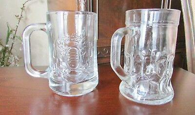 2 Vintage Glass Mugs/ 1 Embossed of Lions & Crown Thick /1 Plain Medium Size