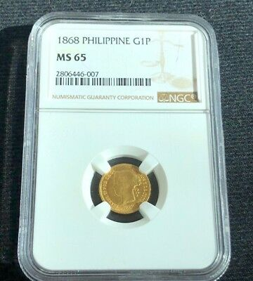 Rare 1868 Gold One Peso - Philippines - NGC MS 65