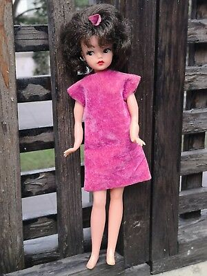 Vtg Rare Clone Brunette Sindy - Tammy Doll With Original Dress Rubber Mexico