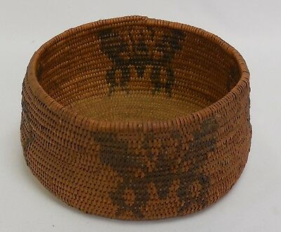 Old Native American Basket With Moth or Butterfly Pattern