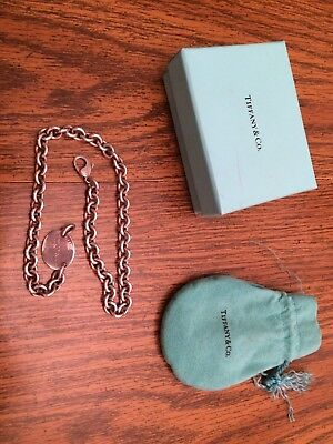 Tiffany & Co Return To Tiffany Sterling Silver Oval Tag Choker Necklace 925