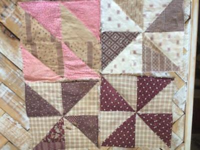 ~Back In Time Textiles~4 Primitive Antique 1860 cutter Quilt blocks grt fabric