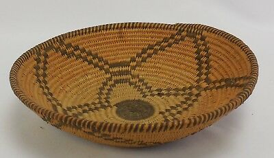 Old Native American Woven Basket Bowl with Geometric Pattern