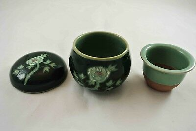 Chinese Porcelain Lidded Infusion Teacup Bowl Markings No Handles Floral Pattern