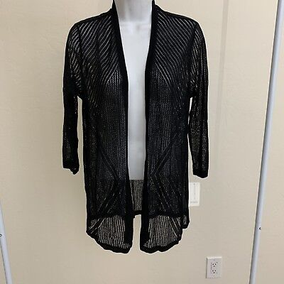 7d1eaefedd1 Charter Club Women s Petite Black Pointelle Open-Front Cardigan Size Medium  NEW