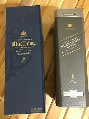 LOT/2 - Johnnie Walker Blue & Platinum Label ~ Empty Box & Tin (No Bottles)