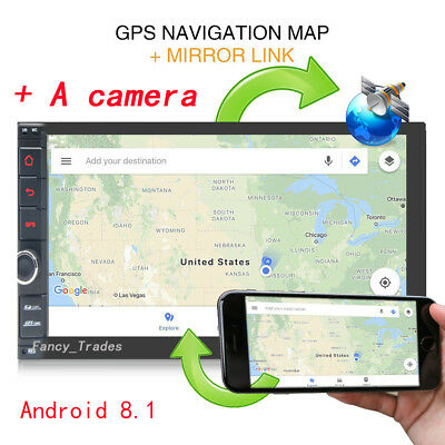 7'' Android 8.1 Bluetooth Stereo 2din Car Radio Player GPS Wifi Universal+Camera