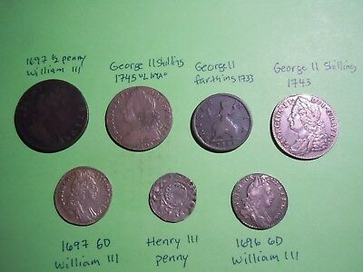 7 British Coins William Iii, George Ii & Henry Iii Some High Grades (1272-1745)