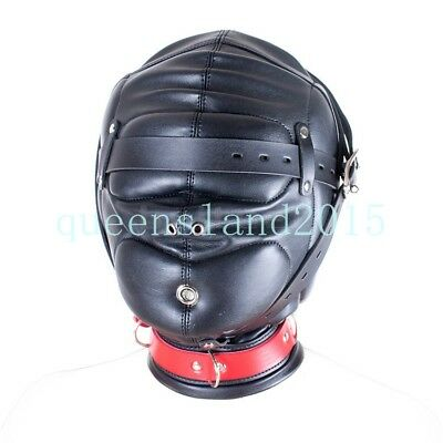 PU Leather Slave Head Hood Mask Lock Eye Mouth Collar Restraint Roleplay Game