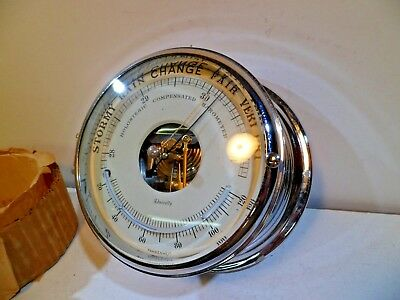 Admiralty (Schatz clock company) New Old Stock Chrome Plated Barometer for Ships