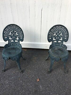 Vintage Cast Iron Ornated Set Of Patio Chairs