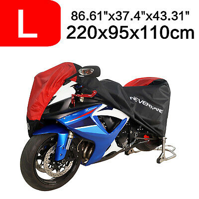 86'' Motorcycle Cover 190T Waterproof Black&Red Dust Snow Wind Rain Protection