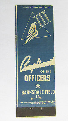 Barksdale Field - Louisiana The Officers 20 Strike Military Matchbook Cover LA