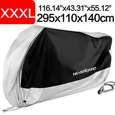 116'' 3X-L Motorcycle Cover 190T Waterproof Wind Dust Rain Protect Black&Silver