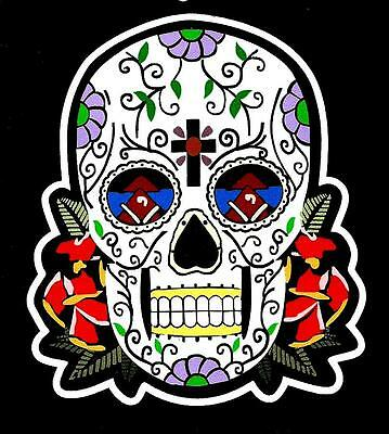 """sugar Skull Rockabilly Gothic"" Vinyl Sticker / Decal Motorcycle Jacket Tattoo"