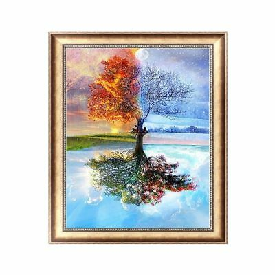 Frameless Four Season Tree Abstract Painting DIY Digital Oil Paint By Numbers